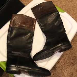 Joan David Italy black brown leather riding boots
